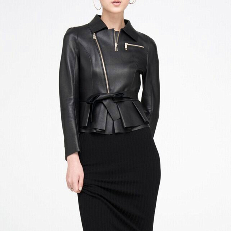 Classic Womens Jacket Black Genuine Leather Suede Short Jacket With Bow Chaquetas De Cuero Mujer Leather Jacket