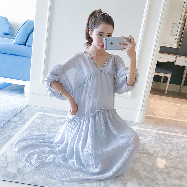 Maternity Sheer Maxi Summer Dress Pregnant Clothing Long Robe Femme Enceinte Maternity Dress Wear Big Sizes Chiffon Gown 502172