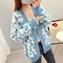 Blue Cardigan jacket Sweater Knit Coat Women plus size Long Sleeve Cashmere Knitted 2020 Fashion Autumn Winter warm Clothing women autumn winter leopard cardigan sweater coat female long sleeve plus size outer knitted tops pull warm thick blue