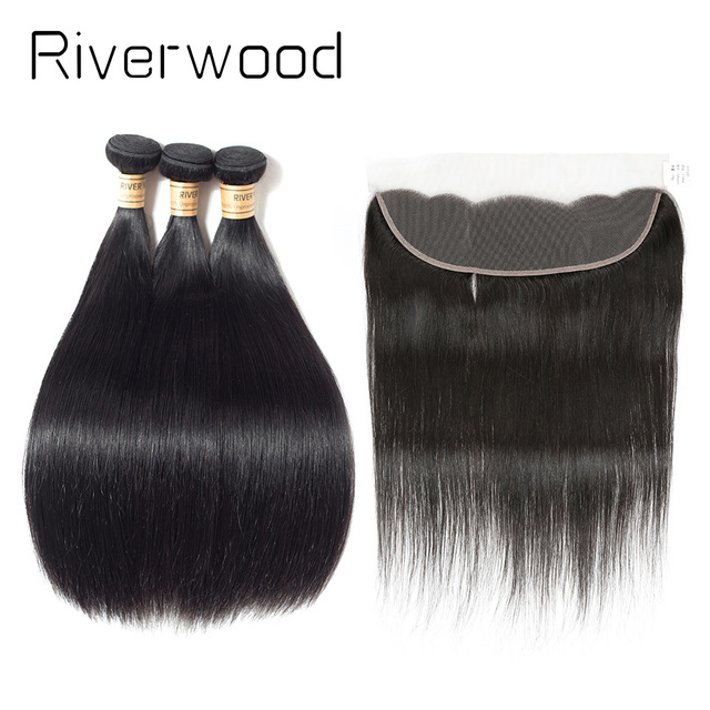 Brazilian Straight Hair 3 Bundles With Lace Frontal Natural Color