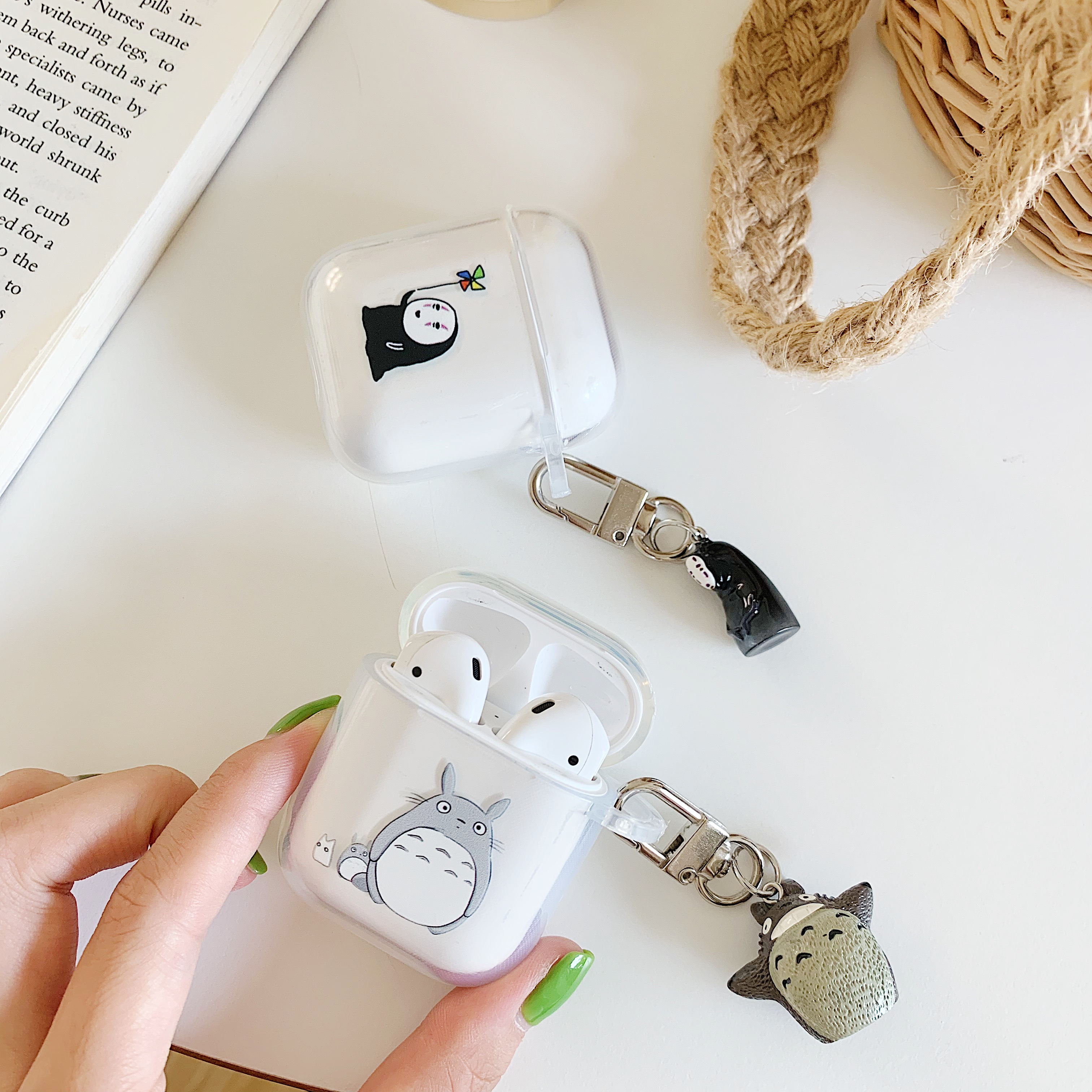 Totoro No Face man Doll Pendant Cartoon Wireless Bluetooth Earphone Case For Apple AirPods 1 2 Silicone Charging in Earphone Accessories from Consumer Electronics
