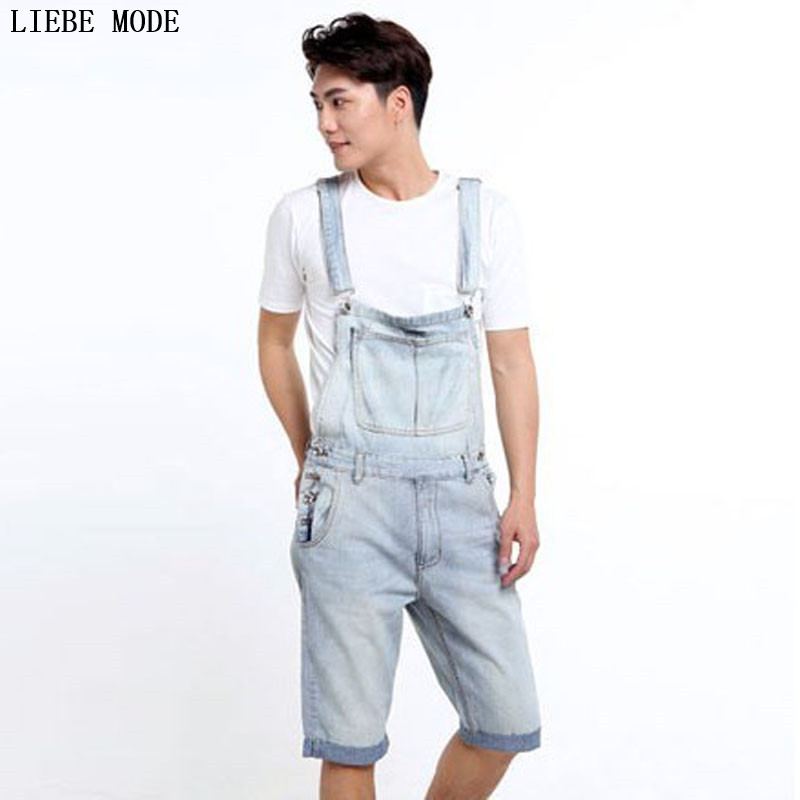 Adult One Piece Denim Jumpsuit Men Overalls Jumpsuit Bib Pants Suspender Jeans Knee Length Jeans Shorts Big Size S-3XL 4XL 5XL lowest price men s lightweight classics jeans for men summer thin blue denim short jeans homme male straight knee length