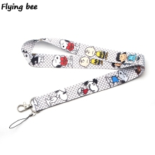 Flyingbee Kawaii Dog Keychain Cartoon Cute Puppy Phone Lanyard Women Fashion Strap Neck Lanyards for ID Card Phone Keys X0116