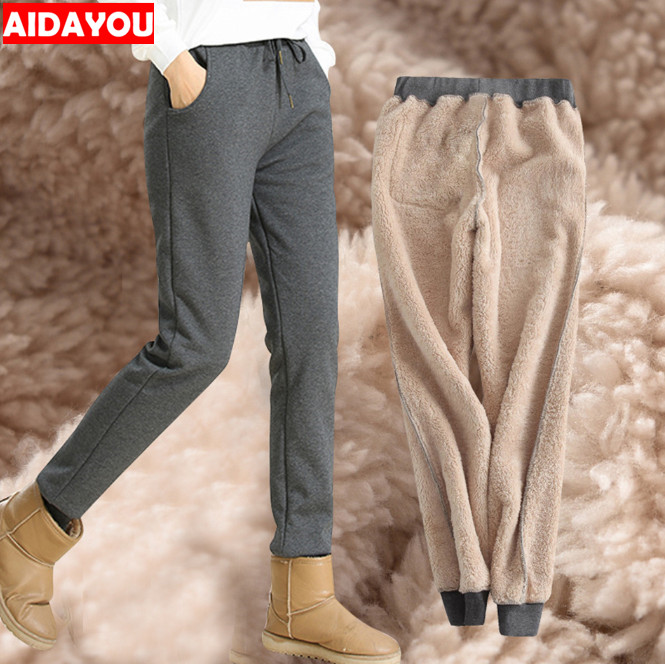 Winter Women Super Warm Tights Thickened Fleece Lined Casual Full Long Pants 5XL
