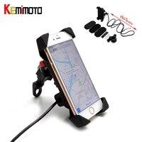 For Yamaha For Kawasaki Universal Mobile Phone Supporter Holder With USB Charger GPS Handlebar For IPhone