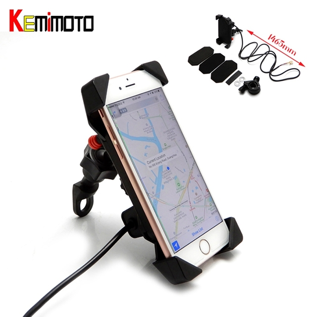 uk availability 731b3 60da6 US $13.99 30% OFF KEMiMOTO Motorcycle Mobile phone holder Phone mount  motorcycle phone Bracket Stand for iPhone 6 7 8 6s Plus for Samsung S8  USB-in ...