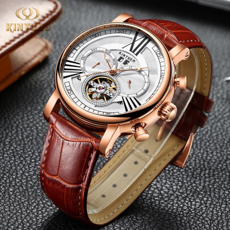 KINYUED Watch Men Luxury Waterproof Mens Mechanical Self Wind Watches Comfortable Leather Strap Mechanical Watch Men AutomaticKINYUED Watch Men Luxury Waterproof Mens Mechanical Self Wind Watches Comfortable Leather Strap Mechanical Watch Men Automatic
