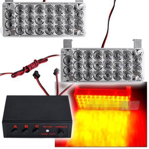 CYAN SOIL BAY 2 x 22 LED Car Strobe Flashing Light Emergency Yellow/Amber