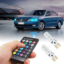 Novel 1 Pair T10 RGB  Interior Decoration Width Lamp Light With Remote Control 12V 6 SMD Auto Atmosphere Lamps Shipping