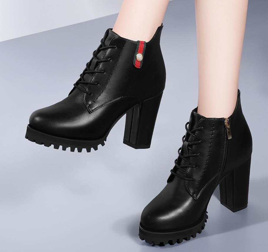 Botas Negro Zapatos De Nuevo E Alto Invierno Otoño Las Mujeres Tacón Moda Británico Estilo wPBqXOF
