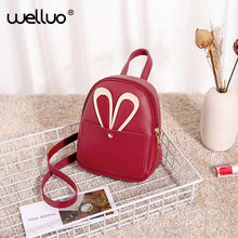 2019 Women Mini Backpack Female Fashion Pure Red School Bag High quality Leather Girl small Shoulder Bag Kwaii Backpack XA610WB(China)