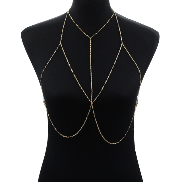 sexy necklace jewelry tassel metal fashion chain gold harness itm body women