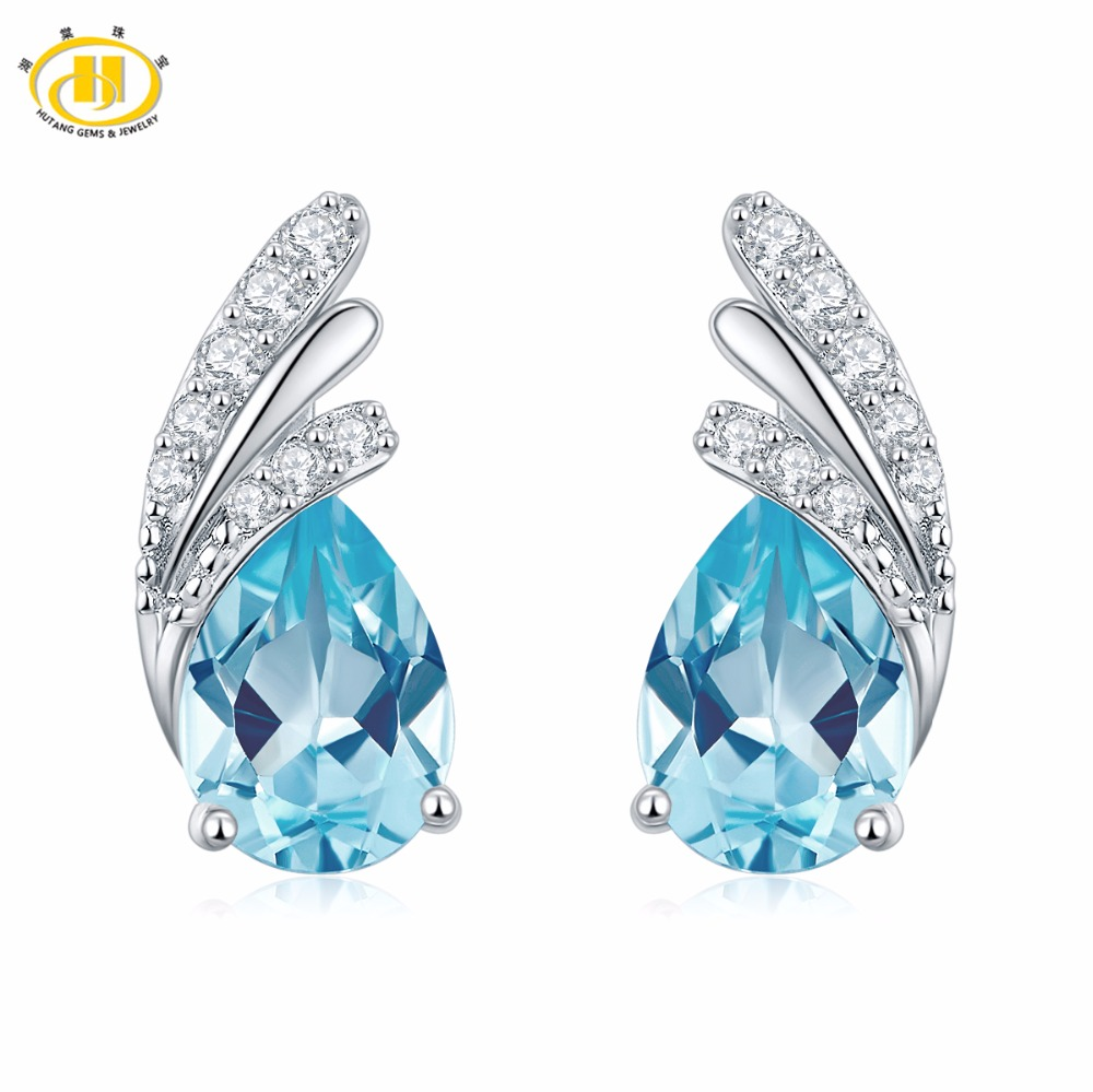 Hutang Trendy Teardrop Real Blue Topaz Stud Earrings Solid 925 Sterling Silver Gemstone Fine Jewelry Women Girl Best Gift ztung lvs1 for us trendy teardrop real zircon bracelet bangle solid 925 sterling silver gemstone fine jewelry bangle best gift