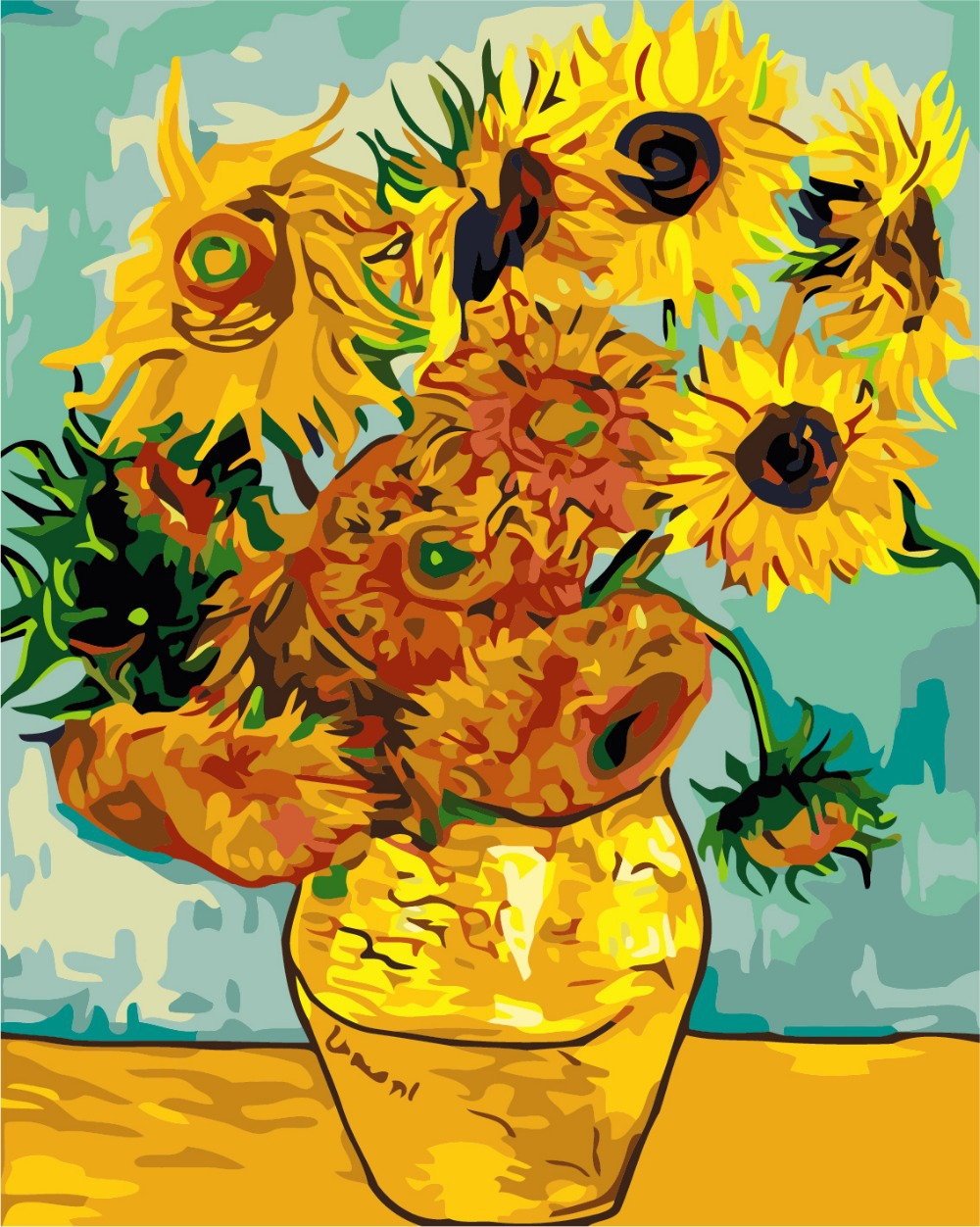The famous modern abstract oil painting Van Gogh sun flower painting ...