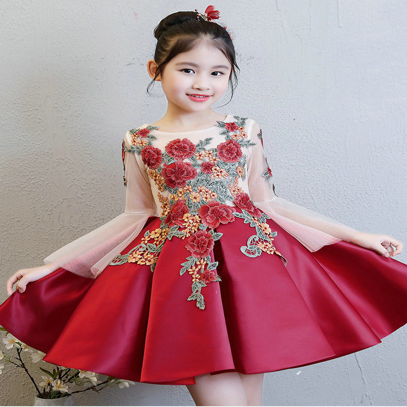 Floral Embroidery Flare Sleeve Dress For Priccess&Wedding Formol Party Clothing Mesh Three Quarter Girl Dresses цена