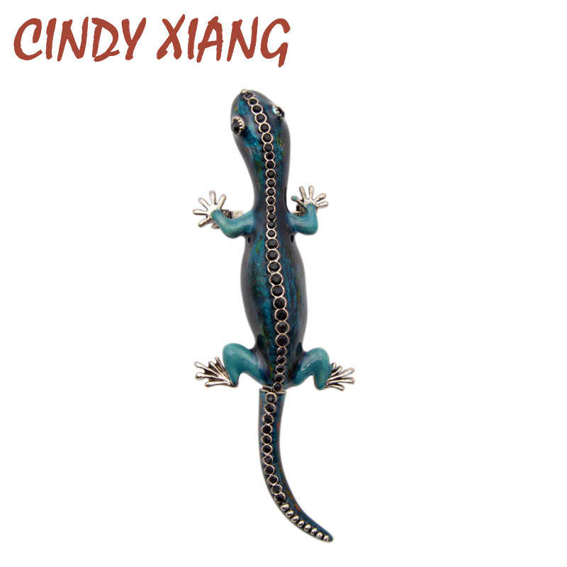 CINDY XIANG New Arrival Enamel Lizard Chameleon Gecko Brooches Blue Color Cute Animal Women and Men Brooches Pins High Quality