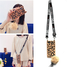 3d leopard cat shoulder strap silicone case for iphone XS MAX XR X 7 8 6 6S plus 5 SE 5S cover cute cartoon soft protecitve