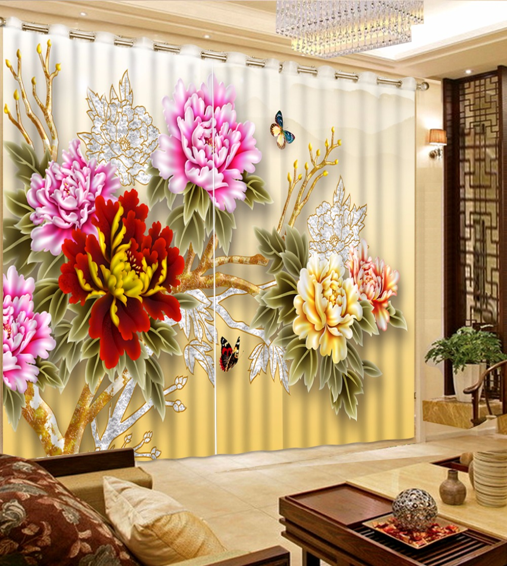 Modern 3D Curtains Luxury For Bedroom Or Flower Landscape Living Room Drapes Cotinas Para Sale