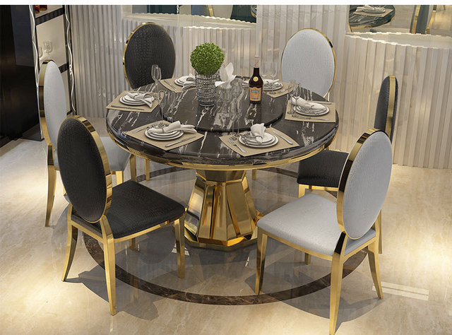Stainless Steel Dining Room Set Home Furniture Minimalist Modern Gl Table And 6 Chairs Mesa De Jantar Muebles Comedor