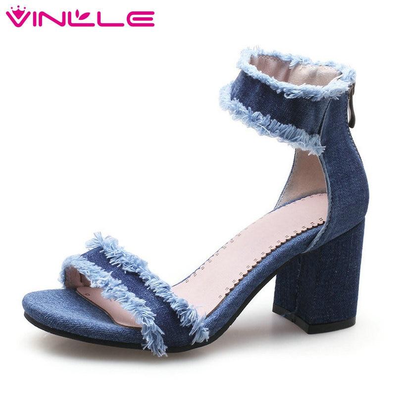 7046a405a VINLLE 2018 Western Style Women Sandals Shoes Woman Peep Toe Square High  Heel Zipper Platform Ladies