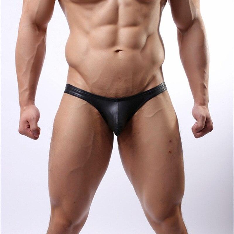 Men's Underwear Mens Black Leather Briefs Sexy Men Soft Convex Crotch Fashion Underwear