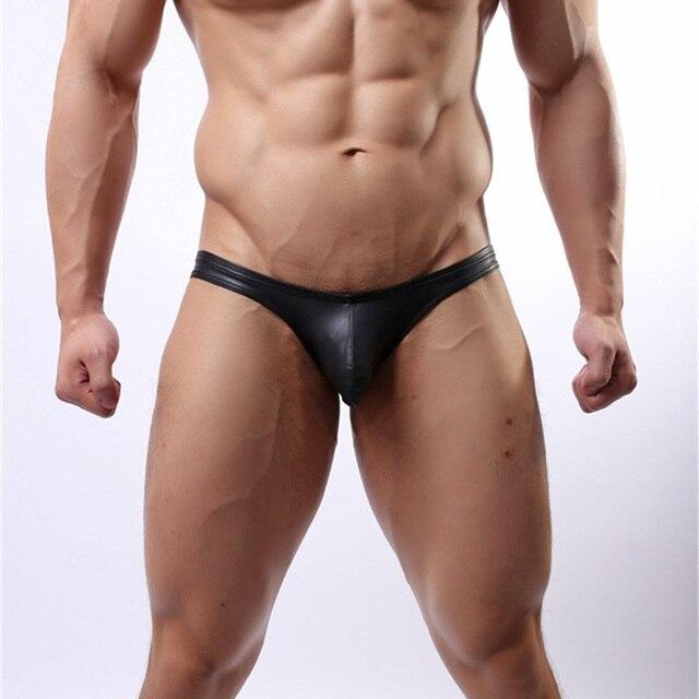 57eba108c17 Men s Underwear Mens Black Leather Briefs Sexy Men Soft Convex Crotch  Fashion underwear