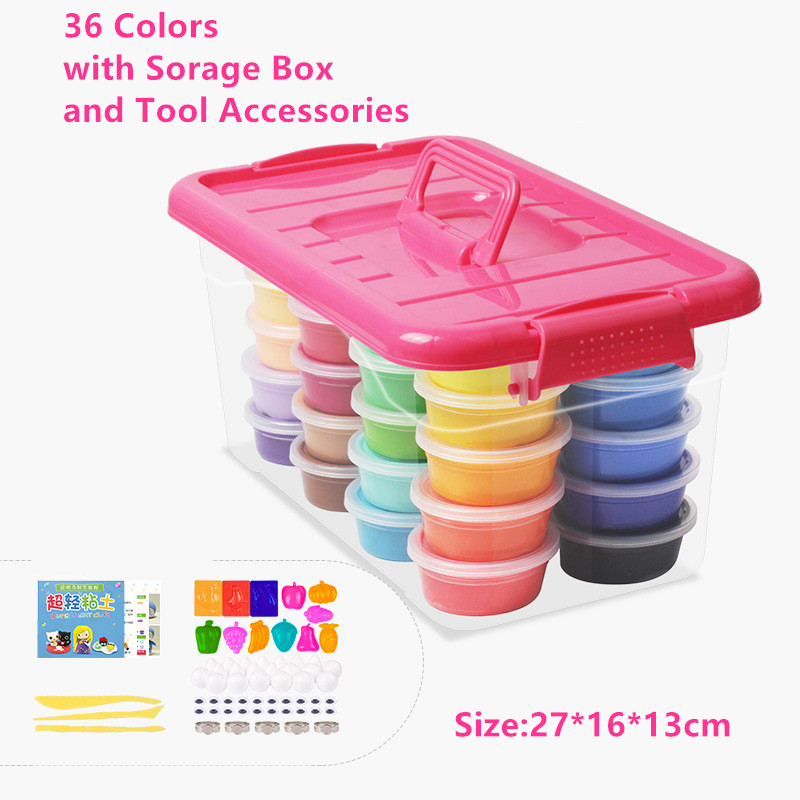 36 Colors with Storage box Accessories Colorful Clay Modeling Clay Play Dough Clay Intelligent Plasticine Polymer Clay