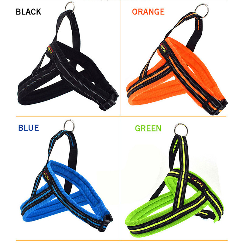 4 Color Dog Harness With Traction Belt Collar Reflective Adjustable Small Medium Large Pets Outdoor Chest Strap Dogs Supplies