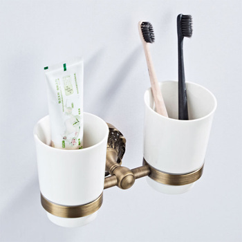 Bathroom Toothbrush Toothpaste Rack Antique Brass Ceramic Cup Holder Wall Mounted Bronze Double Tumbler Holder for Bathroom Kit