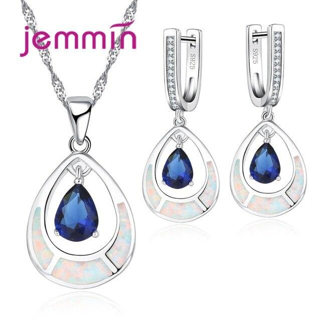 cc7ac43e3e24 Jemmin elegante gota de agua forma zafiro azul 925 plata esterlina joyería  nupcial para mujeres boda
