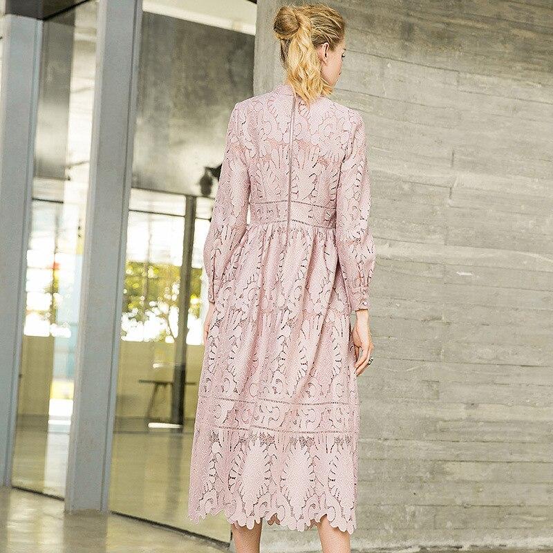 Cou Line Party Automne Nouveau Femmes Solide Évider Robe 2018 Dentelle Rose Stand A Col Longue qvBTC4xw