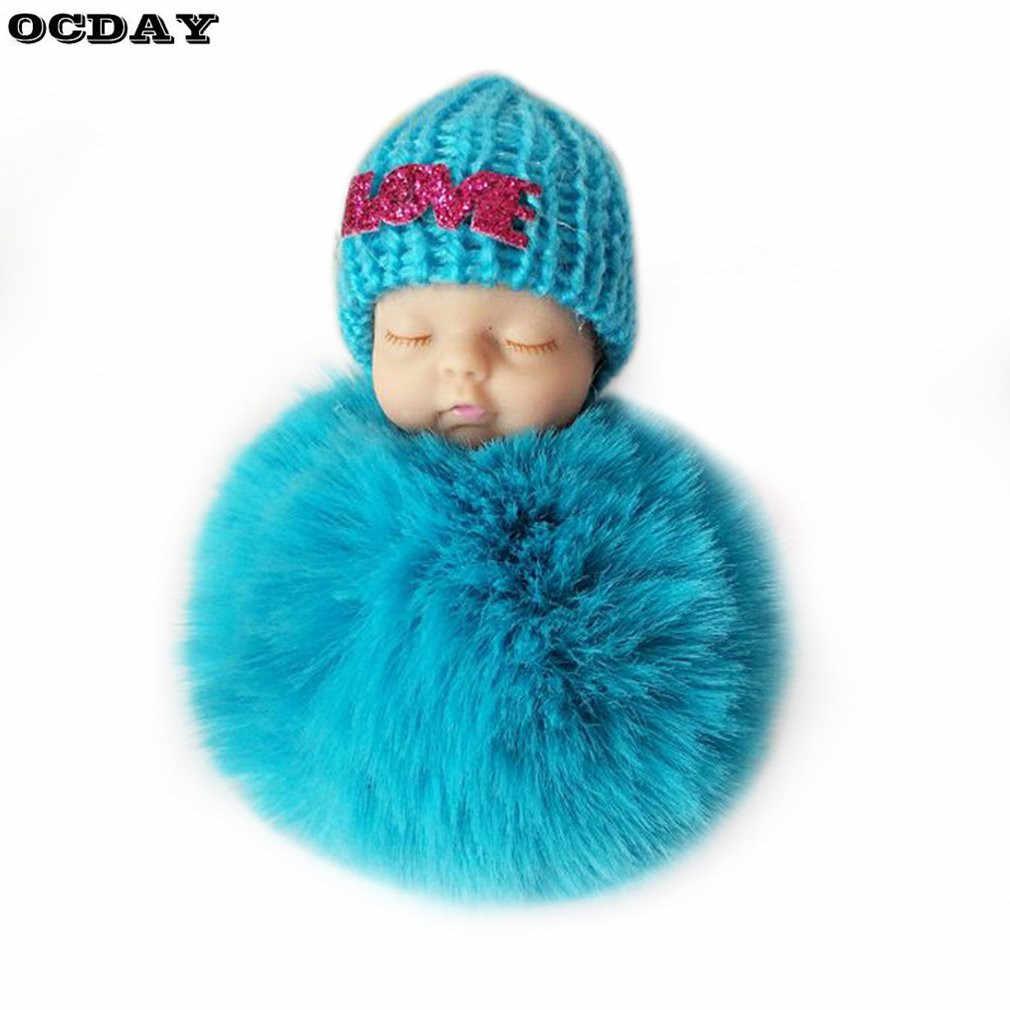 OCDAY Dormir Baby Doll Keychain Criativo Bonito Pequeno Pele Macia Boneca de Pelúcia Pingente Carro Charme Saco Fofo Chaveiro Bola De Brinquedo para As Crianças