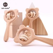 Let's Make Baby Toys Beech Wood Bear Hand Teething Wooden Ring Can Chew Beads Baby Rattles Play Gym Montessori Stroller Toys