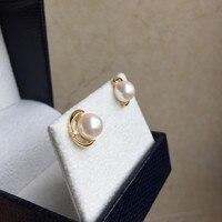 Вечная Свадебная Для женщин подарок Слово 925 серебро реальная постоянным натуральный японский akoya морской жемчуг серьги, полукруглые