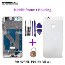 Middle Frame Housing For Huawei P10 Lite Glass Back Battery Cover+Middle Bezel Front Frame Rear Plate Chassis Replacement Parts front back cover replacement for symbol mc65 mc659b
