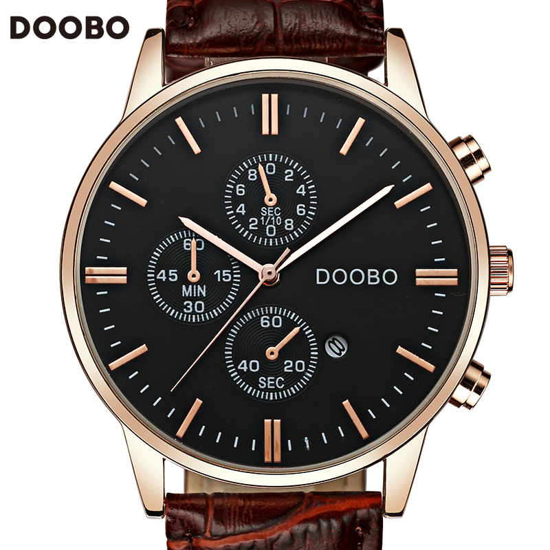 Relogio Masculino DOOBO Quartz Watch Men 2017 Top Brand Luxury Leather Mens Watches Fashion Casual Sport Clock Men Wristwatches цена и фото