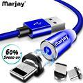 Магнитный зарядный кабель Marjay, 1 м, кабель Micro USB для iPhone XR XS Max X, магнитное зарядное устройство, usb type C, светодиодный кабель для зарядки - фото