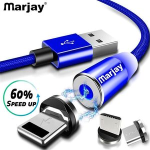 Marjay 1M Magnetic Charge Cable , Micro USB Cable For iPhone XR XS Max X Magnet Charger USB Type C Cable LED Charging Wire Cord