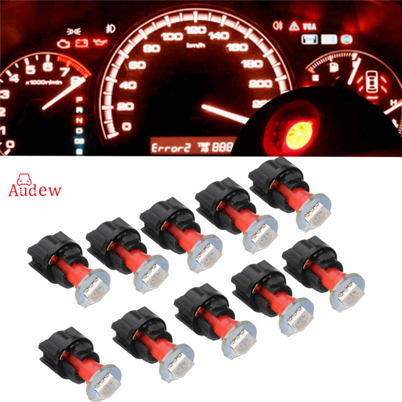10pcs T5  With Led Lamps Socket Car Dash Bulb B8.5 LED Dashboard instrument Light 12v blue red green white yellow uxcell 10 pcs ice blue 3020 smd led vehicles car dashboard dash light lamp internal