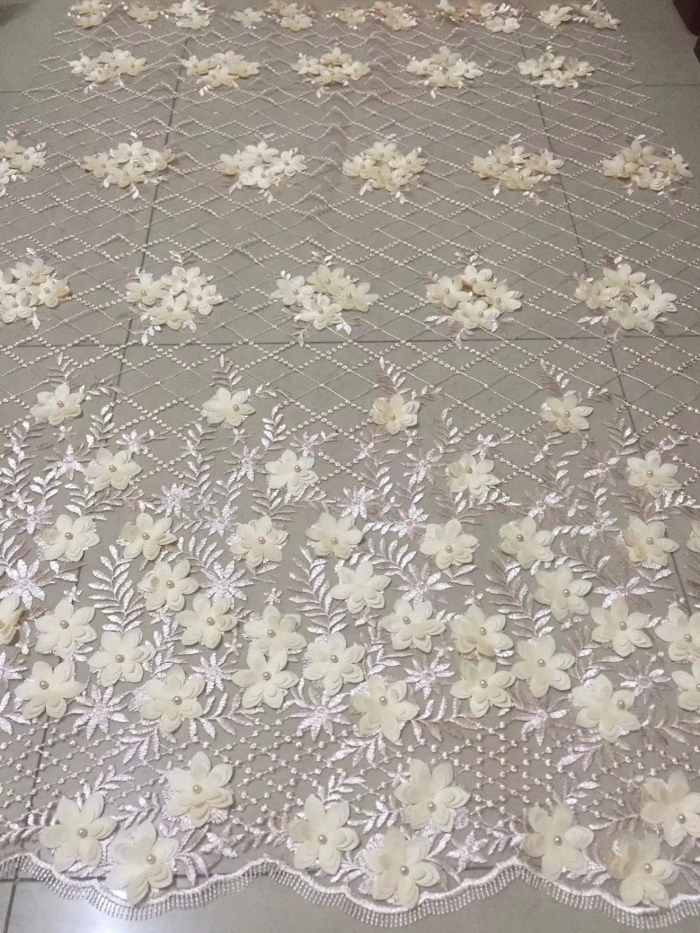 3d applique french lace high quality for african dress embroidery tulle fabric wholesale 5yard/lot3d applique french lace high quality for african dress embroidery tulle fabric wholesale 5yard/lot