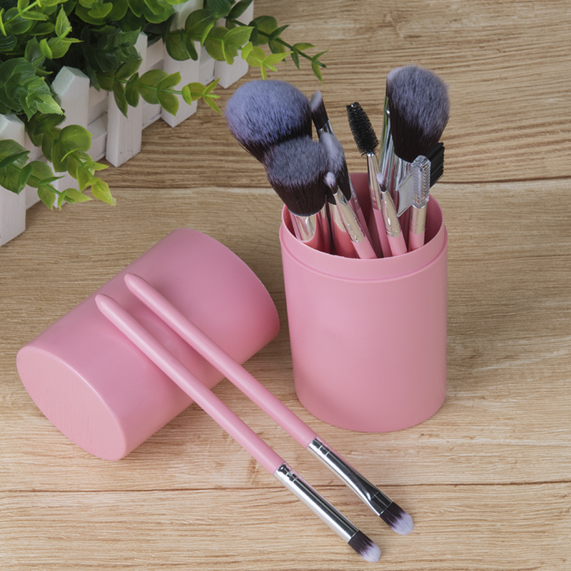 12pcs Makeup Brushes Set Facial Powder Foundation Blush Eyelash Eyeshadow Brush Cosmetic Beauty Tools with Plastic Cylinder Case professional 15pcs set facial makeup brushes set eyeshadow eye make up brush beauty blush powder foundation cosmetic brush tool