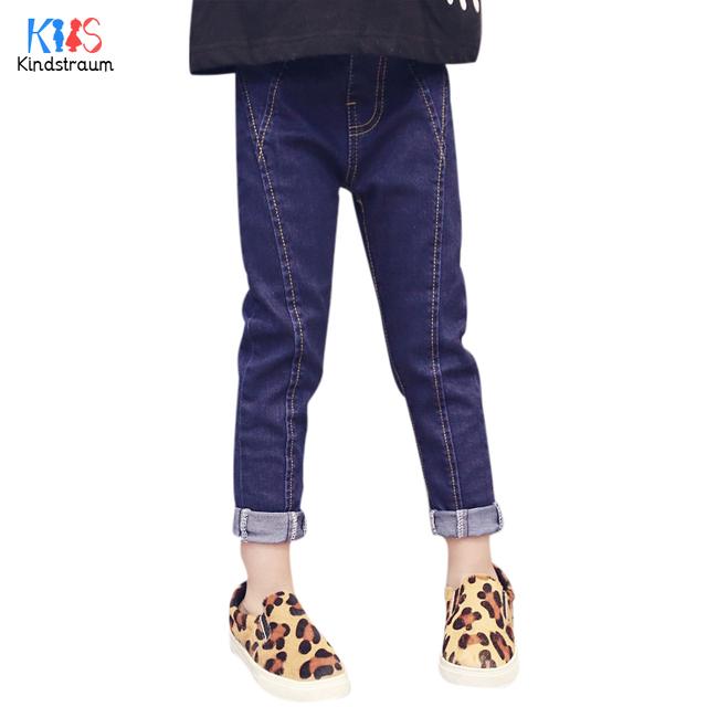 Kindstraum 2017 nuevos niños luz jeans solid niños primavera mediados de cintura de pantalones casuales pantalones para niñas, rc1236