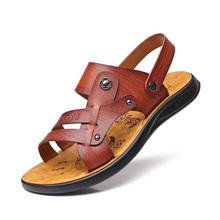 Classic Men Soft Leather Sandals Comfortable Men Summer Shoes Sandals Big Size Summer Leisure Beach Men Shoes DA0222