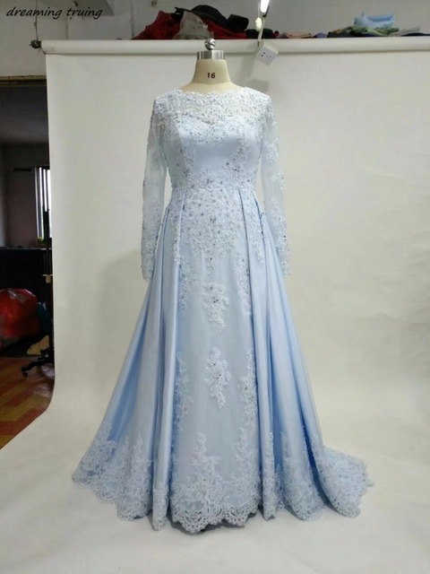 Beach Light Blue A Line Satin Wedding Dresses With Long Sleeves Lace ...