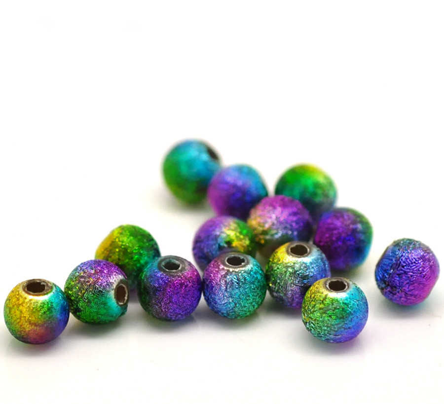 "DoreenBeads Acrylic Spacer Beads Ball Multicolor For DIY Jewelry Making About 6mm(2/8"")Dia,Hole:Approx 1.2mm,40 PCs"