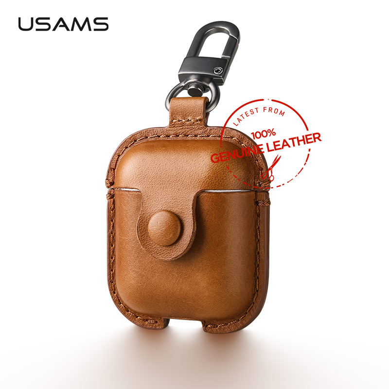 USAMS Luxury Genuine Leather Case for Apple Airpods Earphone Protective Cover for Air Pods Wireless Bluetooth Earphone Box