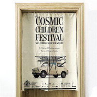 Creative Vintage style pictorial Printed Door Curtains For Living Room Bedroom Door Decoration Linen Fabric Curtains