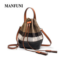 Autumn And Winter New Womens Bucket Bags Women'S Messenger Bag Leather With Canvas Plaid Female Crossbody Bag Tassel Sac A Main