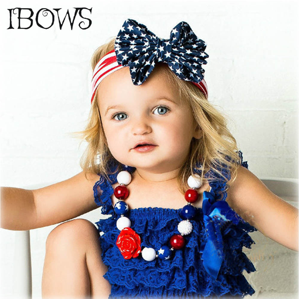 American Patriots' Day Headband 4th Of July Fabric Bow Hairband Stripe Cotton Headwear Children Baby Hair Accessories popular in europe and america children wear hair knotted cotton big bow tie children hair baby hair headband