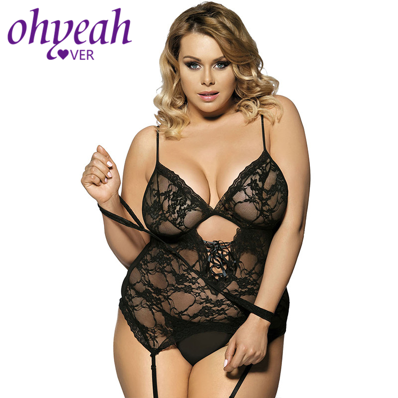 Ohyeahlover Disfraz Sexy Baby Doll Mujer Fantasias Sexy Lingerie Hot Erotic Women Night Dress Plus Size Lace Babydoll 6XL RM7600